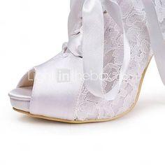 Lace Women's Wedding Stiletto Heel Peep Toe Sandals Shoes(More Colors) - USD $ 37.99