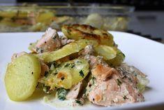 Gerechten zonder pakjes en zakjes #113. Aardappel anders room bieslook met zalm. - Tuna, Potato Salad, Seafood, Potatoes, Broccoli, Meat, Dinner, Ethnic Recipes, Sea Food