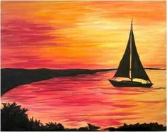 Easy painting idea, sail boat silhouette on the golden sea at sunset