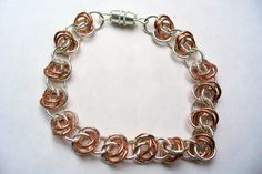 Barrel Chain Bracelet - Early piece made with rings (copper and base metal) from Michael's. Wire Jewelry, Beaded Jewelry, Chainmaille, Charmed, Beads, Metal, Bracelets, Rings, Barrel