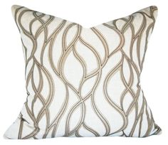 """This Stout Taupe Geometric Embroidered Throw Pillow Cover is a Sensational Modern Accent Pillow, that Showcases the ..""""CORTEZ TOFFEE """".. Print Designer Pattern, From the 1379 - Color My Window Natural / Linen Collection.  This Made in India Pattern Features an Embroidered Applique of an Abstract Trellis / Lattice / Scrollwork Geometric Design, that Provides a Soothing, Flowing Liquid Like Affect. The Applique Color is Taupe and is Stitched with Grey Embroidery. The Background Color is Linen…"""