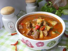 Polish Recipes, Polish Food, Thai Red Curry, Slow Cooker, Chili, Salsa, Cooking Recipes, Chicken, Meat