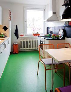 Green floor.
