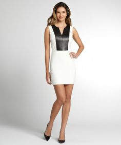 Mason white leather inset sleeveless dress
