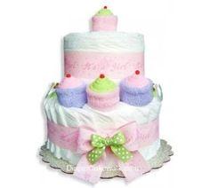 It's A Girl! Mini Diaper Cake by DiaperCakeWalk