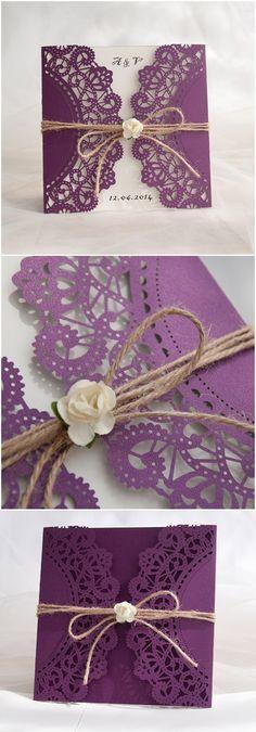 Chic Rustic Purple Laser Cut Wedding Invitations For Country Ideas Diy