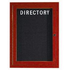 """AARCO Outdoor Aluminum Enclosed Wall Mounted Letter Board Frame Color: Cherry Wood, Number of Doors: One, Size: 24"""" H x 18"""" W"""