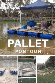 Diy: Portable Pontoon Using Old Pallets and Old Blue Drums • 1001 Pallets Floating Pontoon, Floating Boat, Floating House, Pallet Kids, Outdoor Pallet Projects, Diy Projects, 1001 Pallets, Recycled Pallets, Pontoons For Sale