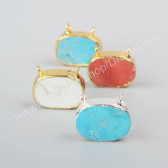 1Pcs Gold & Silver Plated Oval Multi Colors Howlite Turquoise Connector Pendant Double Bails Turquoise Slice Charm Gemstone Bead CL019 by Druzyworld on Etsy