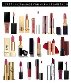 """Lipstick shades for warm brown skin"" by bunnygirl21 on Polyvore featuring beauty, Smashbox, By Terry, Anastasia Beverly Hills, Urban Decay, Chanel, Bare Escentuals, Dolce&Gabbana, Yves Saint Laurent and MAC Cosmetics"