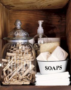 Ideas for decorating the shelves in the laundry room. Vintage finds at TJ Maxx