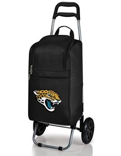 The Cart Cooler in black with the Jacksonville Jaguars digital print is the perfect all-around insulated tote on wheels. The tote is fully removable from the trolley and has two large storage pockets on each side and a large zippered opening for easy accessibility.