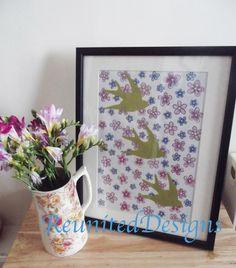 Three Swalllows ditsy floral design Hand drawn onto fabric etsy.com/shop/ReunitedDesigns