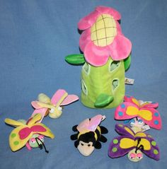 "Flower House Pink Green Tree 5 Plush Bugs Butterfly Bee 14"" soft toys Stuffed #Unipak"