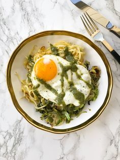 Parsnip Noodles and Brussels Sprouts with Fried Egg and Fresh Herb Tahini