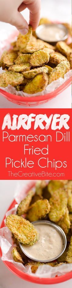 Airfryer Parmesan Dill Fried Pickle Chips are a quick and easy 5 ingredient appetizer made extra crunchy in your Airfryer without all the fat from oil. This low-fat snack is sure to satisfy your craving for something salty! #Airfryer #Pickle #Snack