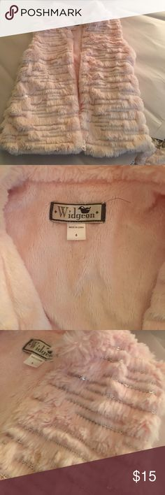WIDGEON vest pink fur with silver girls 6T As NEW   Never worn. WIDGEON faux fur pink vest with silver thru out.  Just adorable. Girls 6T from Nordstrom Widgeon Jackets & Coats Vests