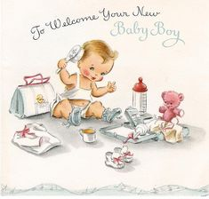 Vintage Welcome Baby Boy card