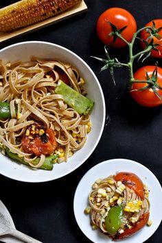 Grilled corn & tomato fettucine