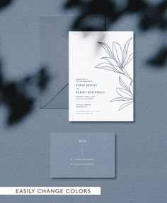 Crisp clean modern with my hand drawn leaves illustration in the center. A simple custom color palette - change to any custom color. Silver Wedding Invitations, Minimalist Wedding Invitations, Wedding Invitation Templates, Wedding Cards, Wedding Typography, Modern Wedding Stationery, Wedding Branding, Wedding Invitation Inspiration, Letterpress Wedding Invitations