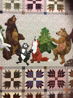 Fall Quilts, Boy Quilts, Quilting Projects, Quilting Designs, Quilting Ideas, Wildlife Quilts, Bear Paw Quilt, Applique Quilt Patterns, Miniature Quilts