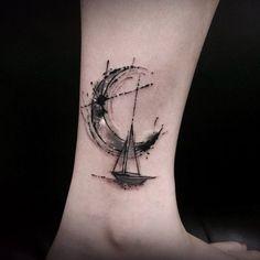 Sailing and moon tattoo Great Tattoos, Beautiful Tattoos, New Tattoos, Body Art Tattoos, Small Tattoos, Tattoos For Guys, Tatoos, La Muerte Tattoo, Ta Moko Tattoo
