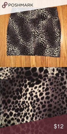 Bodycon Skirt Gray and black leopard print bodycon skirt 95% cotton, 5% spandex Charlotte Russe Skirts Mini