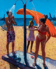 David FeBland is an internationally recognized American/British artist known for contemporary figurative oil paintings and expressionist urban landscapes. Chrysler Museum, University Of Richmond, Realistic Paintings, Modern Paintings, Oil Paintings, City Painting, David, National Art, I Love The Beach