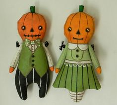 Halloween Tiny Pumpkin Ornament--  Original Hand Painted Folk Art Doll -- Made to order within a week. $50.00, via Etsy.