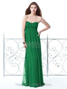 Column Strapless Green Chiffon Pleated Floor-length Bridesmaid Dress at Millybridal.com
