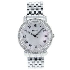 Fossil Women's ES3114 Stainless Steel Analog Mother-Of-Pearl Dial Watch Fossil. $137.35. Water-resistant to 50 M (165 feet). Case diameter: 38 mm. Quartz movement. Scratch resistant mineral. Stainless steel case. Save 33% Off!