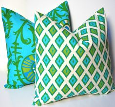 Decorative Pillows, 18 x18 Throw Pillow Covers, Accent Pillows, Combo of Suzani and Vines n Turquoise and Green on Natural. $32.00, via Etsy.