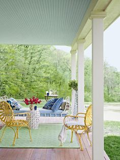 love the painted ceiling Farmhouse Porch