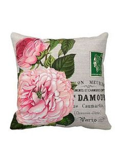 Pillow Cover Pink Rose Botanical Cotton and Burlap Pillow Cover