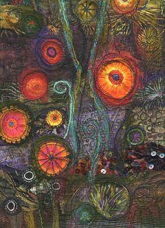 https://flic.kr/p/Mtck7 | Star garden | bottom half of a 20 x 9 inch art quilt. this one will not be going on a book!