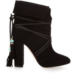 Aquazzura X Poppy Delevingne Moonshine ankle boots ($1,026) ❤ liked on Polyvore featuring shoes, boots, ankle booties, black, black booties, ankle boots, suede bootie, black boots and black bootie