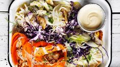 Colourful cabbage crunch salad with fried haloumi