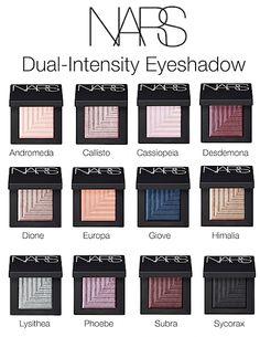 NARS Dual-Intensity Eyeshadow Shade Chart
