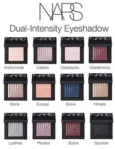 NARS Dual-Intensity Eyeshadow Collection Shade Chart