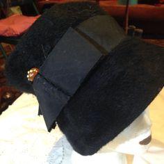Antique Handmade Vintage Black Wool Felt Wide Brim Hat Woth Bakalite Accent