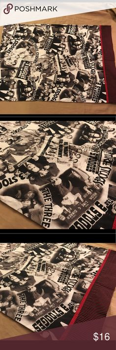 """Three stooges standard pillow case Thank you for viewing my listing, for sale is a Three Stooges team, 20"""" x 27"""", black and white pillowcase. The pillowcase has different hilarious scenes from the famous Three Stooges show. The edge of the pillowcase has a black and red striped border  Excellent condition with no rips or stains. If you have any questions or would like additional photos please feel free to ask. three stooges Accessories"""