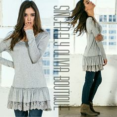 She's Stunning Top -  Grey How cute is this top? Show off your playful side with this flirty top! Pair this with jeans and boots and your ready for fun!    Fit loose intended  Available in: S, M, L  Price is firm  No Trades  Fast Shipping Sincerely Olivia Boutique  Tops Tees - Long Sleeve
