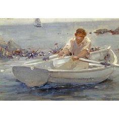 Man In a Rowing Boat Canvas Art - Henry Scott Tuke (20 x 28)