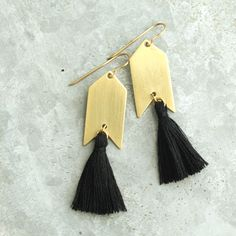 Black Tassel Earrings Black and Gold Natural Brass by HeatherBerry