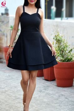 Buy Black Padded Short Dress by Colorauction - Online shopping for Dresses in India Elegant Dresses Classy, Casual Dresses, Short Dresses, Sleeves Designs For Dresses, Dress Neck Designs, Western Dresses, Western Outfits, Belted Dress, Chiffon Dress
