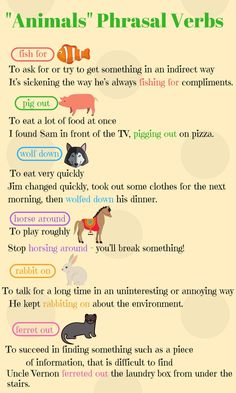 """Animals"" Phrasal Verbs in English (With Meanings & Examples) - ESL Buzz Better English, English Vinglish, English Verbs, Learn English Grammar, English Writing Skills, English Vocabulary Words, Learn English Words, English Tips, English Phrases"