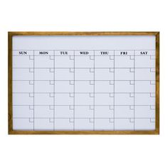 Monthly Calendar Dry Erase Board