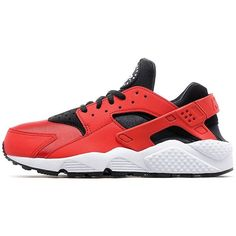 Nike Air Huarache Women's ($115) ❤ liked on Polyvore featuring shoes, athletic shoes, nike, cushioned shoes, red retro shoes, red athletic shoes and red shoes