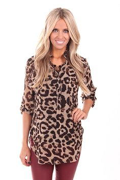 Lime Lush Boutique - Leopard Button Up Top with 3/4 Sleeves, $42.99 (http://www.limelush.com/leopard-button-up-top-with-3-4-sleeves/)