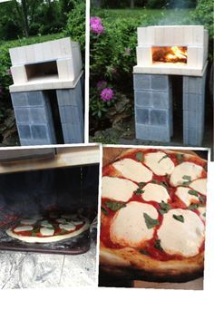 "Dry stacked (no mortar) pizza oven weekend (1/2 day anyway) project... Used: 16 cinder blocks 1 cement board, cut in half 94 (I think) fire bricks 8 29"" angle iron segments (roof support) Thanks to www.gardenfork.tv for idea!"